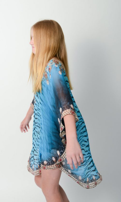 Exotic Blue Tiger Kids Kaftan