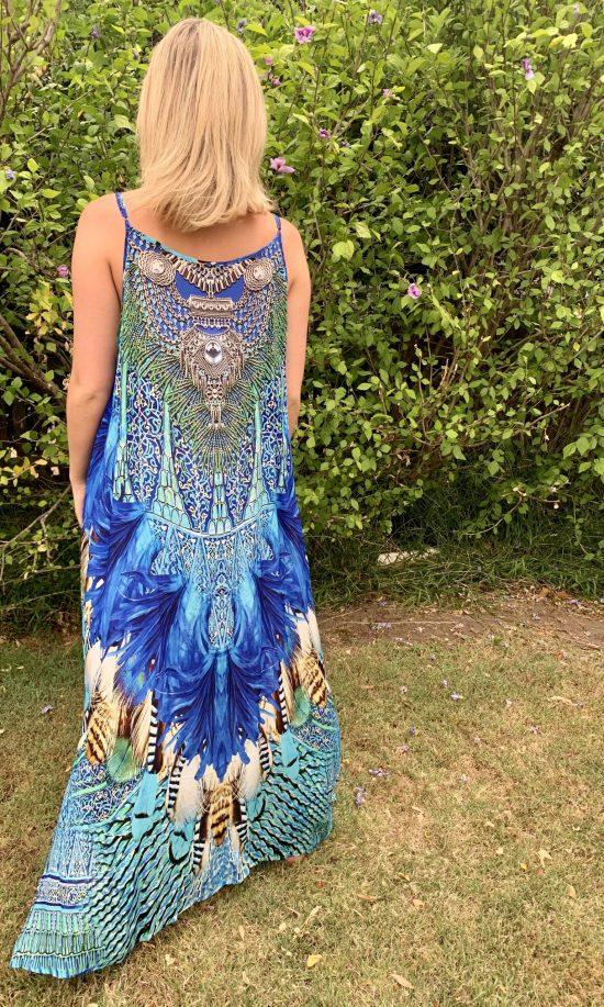 Blue Feather Embellished Maxi Dress