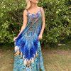 Blue Feather Embellished Maxi Dress