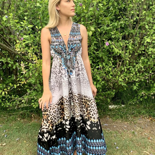 Snow Leopard Embellished Dress