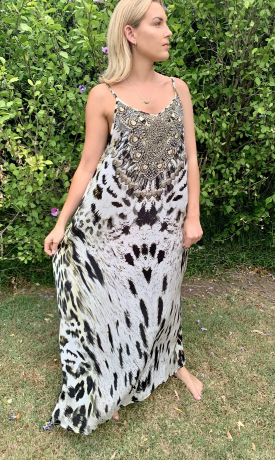 Snow Leopard Embellished Maxi Dress