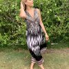 Zebra Print Embellished Dress