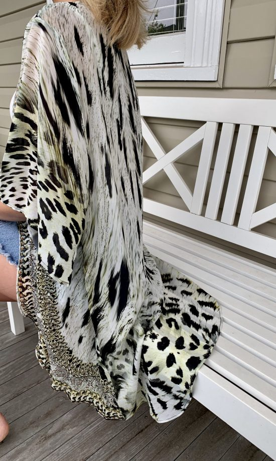 Snow Leopard Embellished Cape