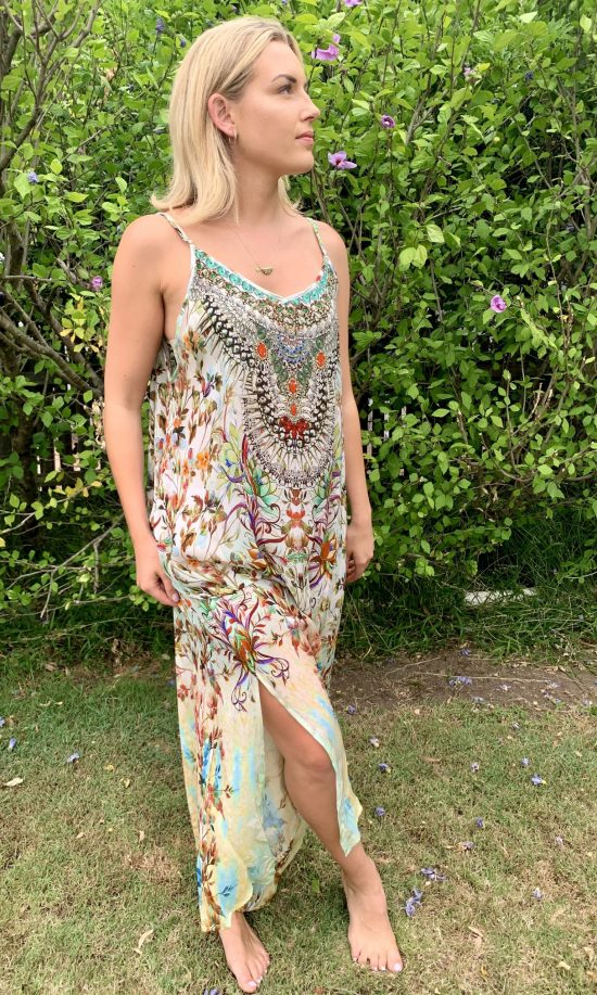 Mint Flower Embellished Maxi Dress