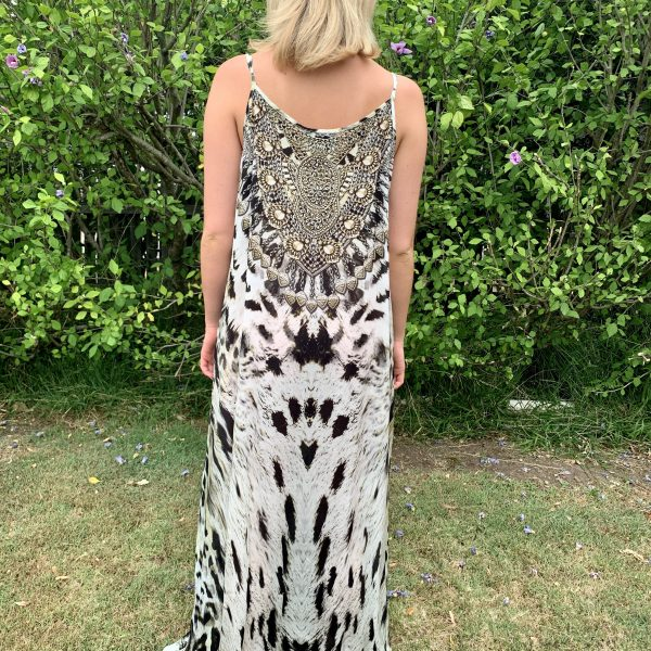 Snow Leopard Embellished Maxi Dress