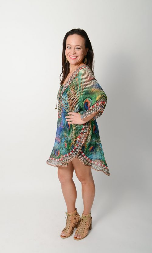 Exotic Peacock Balloon Kaftan